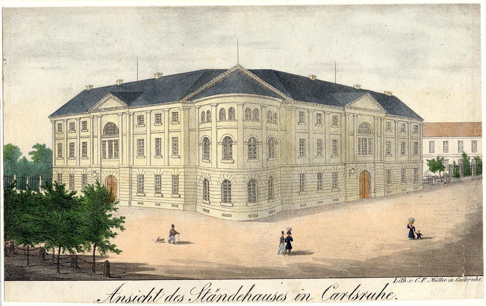 Das Karlsruher Ständehaus, um 1840