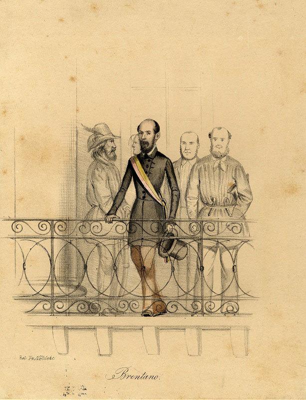 Lorenz Brentano (1813 –1891) auf dem Balkon des Karlsruher Rathauses, 1849