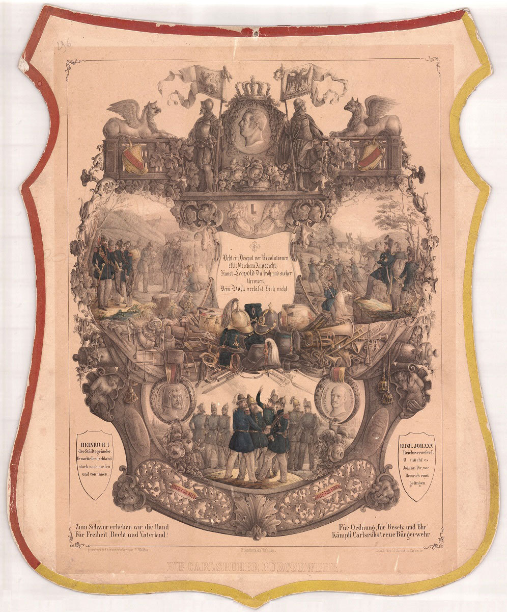 Gedenkblatt der Karlsruher Bürgerwehr, 1849