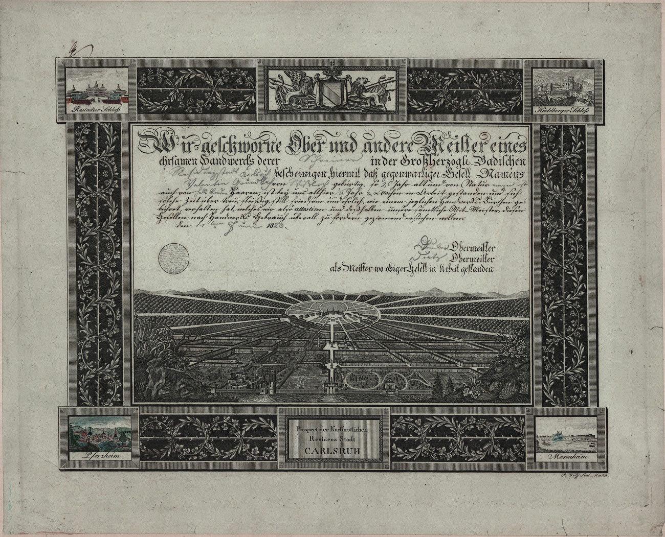Gesellenbrief der Schreinerzunft von 1820