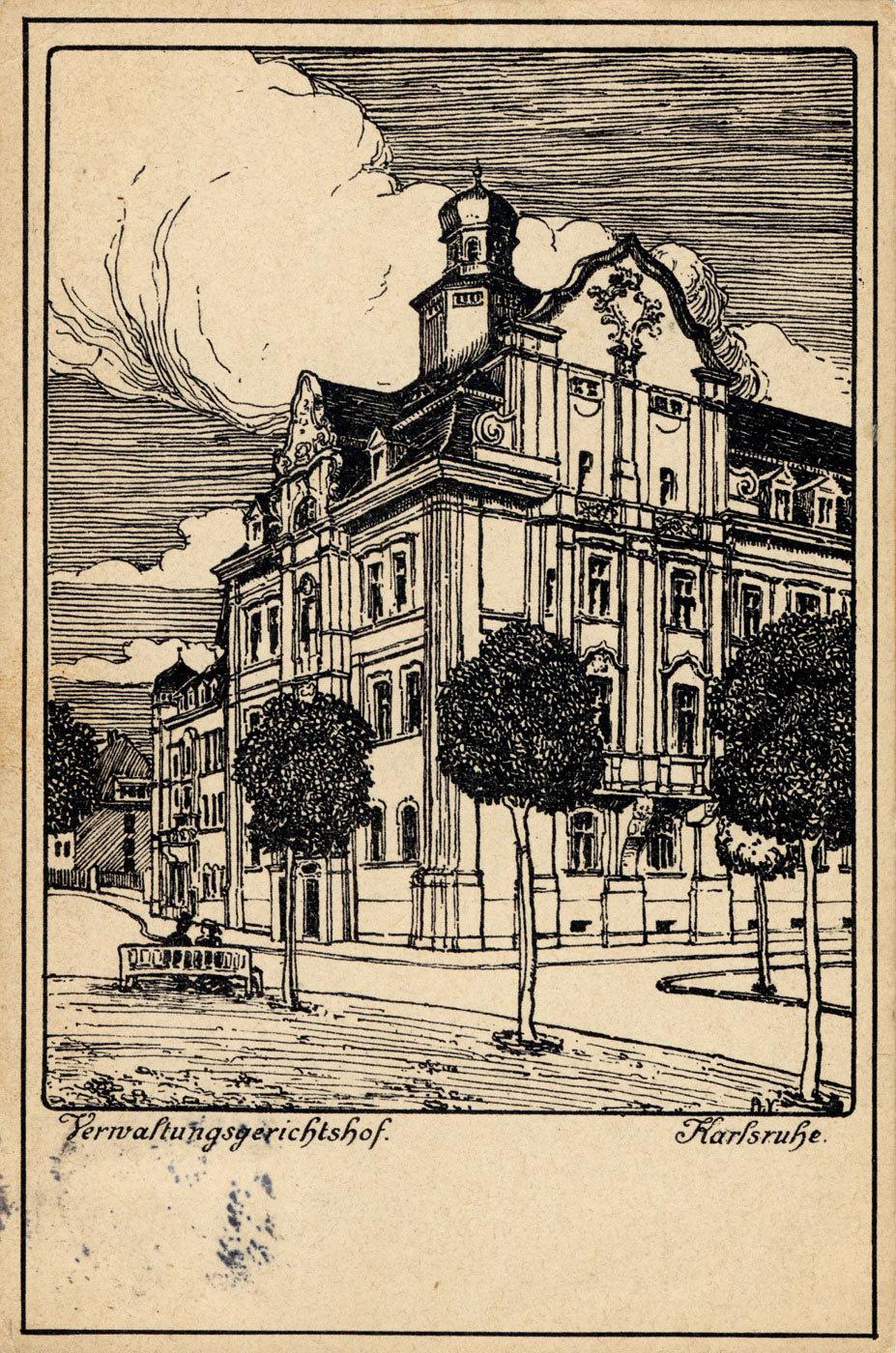 Der Verwaltungsgerichtshof in Karlsruhe im Jahr 1907