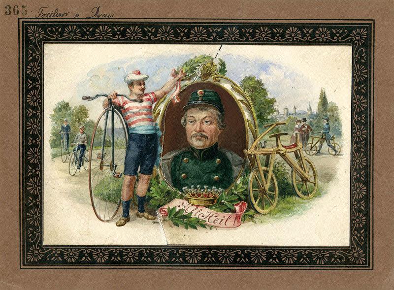Radfahrer vor Bildnis von Karl (von) Drais (1785–1851), um 1890