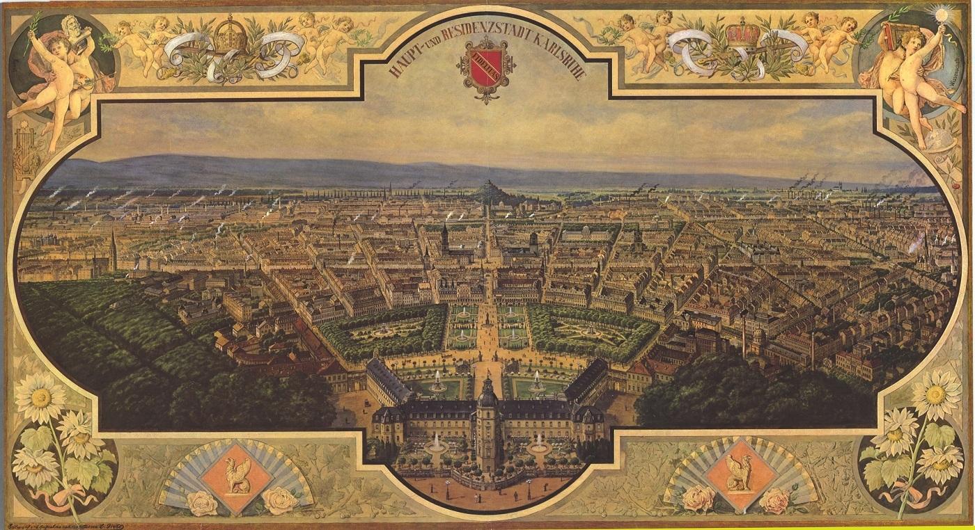 Panorama von Karlsruhe im Jahr 1897 von C. Grothe