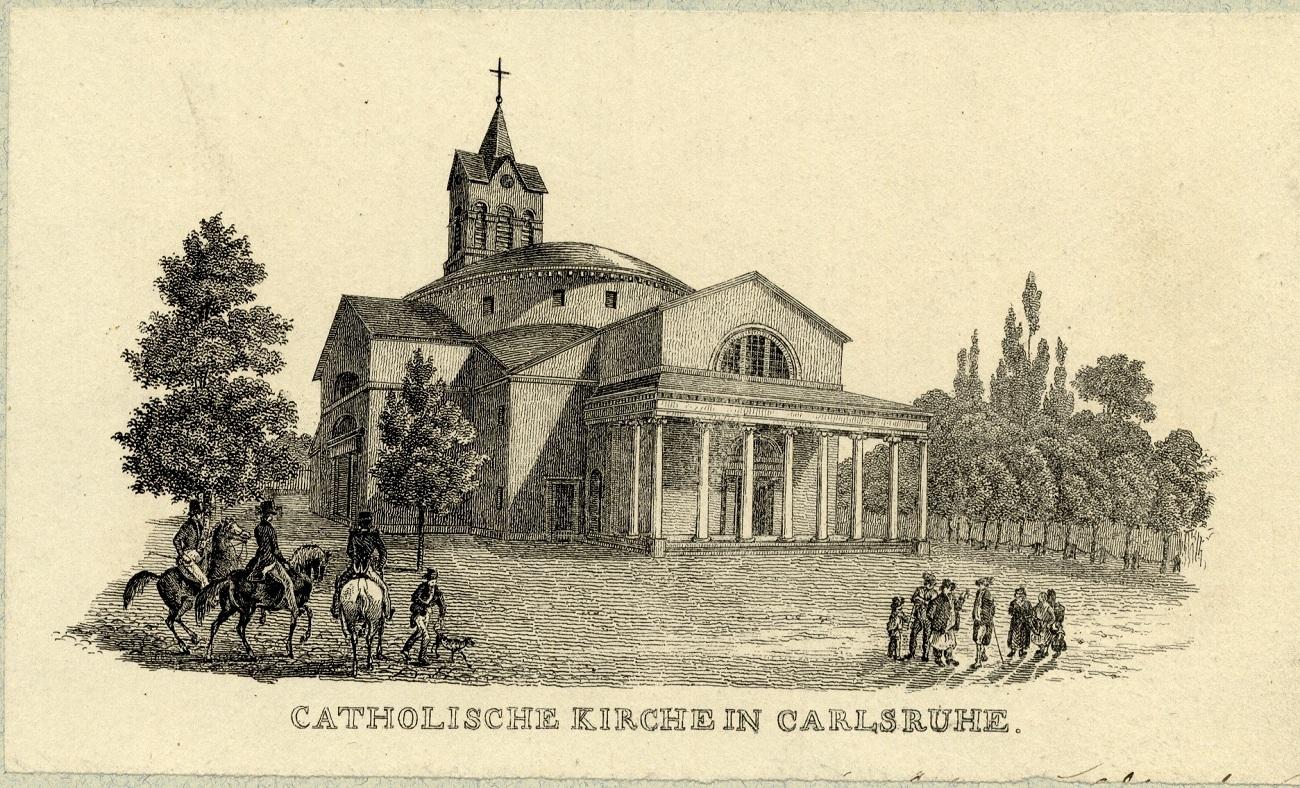 Die katholische Kirche St. Stephan, um 1850