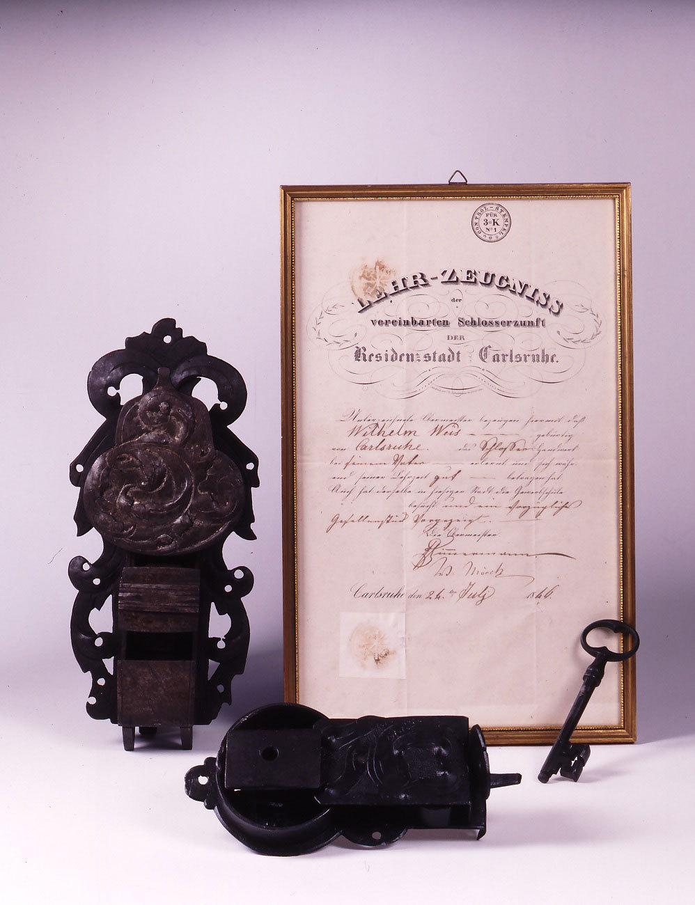 Schlösser und Lehrzeugnis von Wilhelm Weiß im Karlsruher Stadtmuseum, 1846