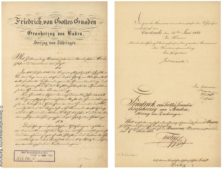 """Das """"Gesetz über die bürgerliche Gleichstellung der Israeliten"""" von 1862"""
