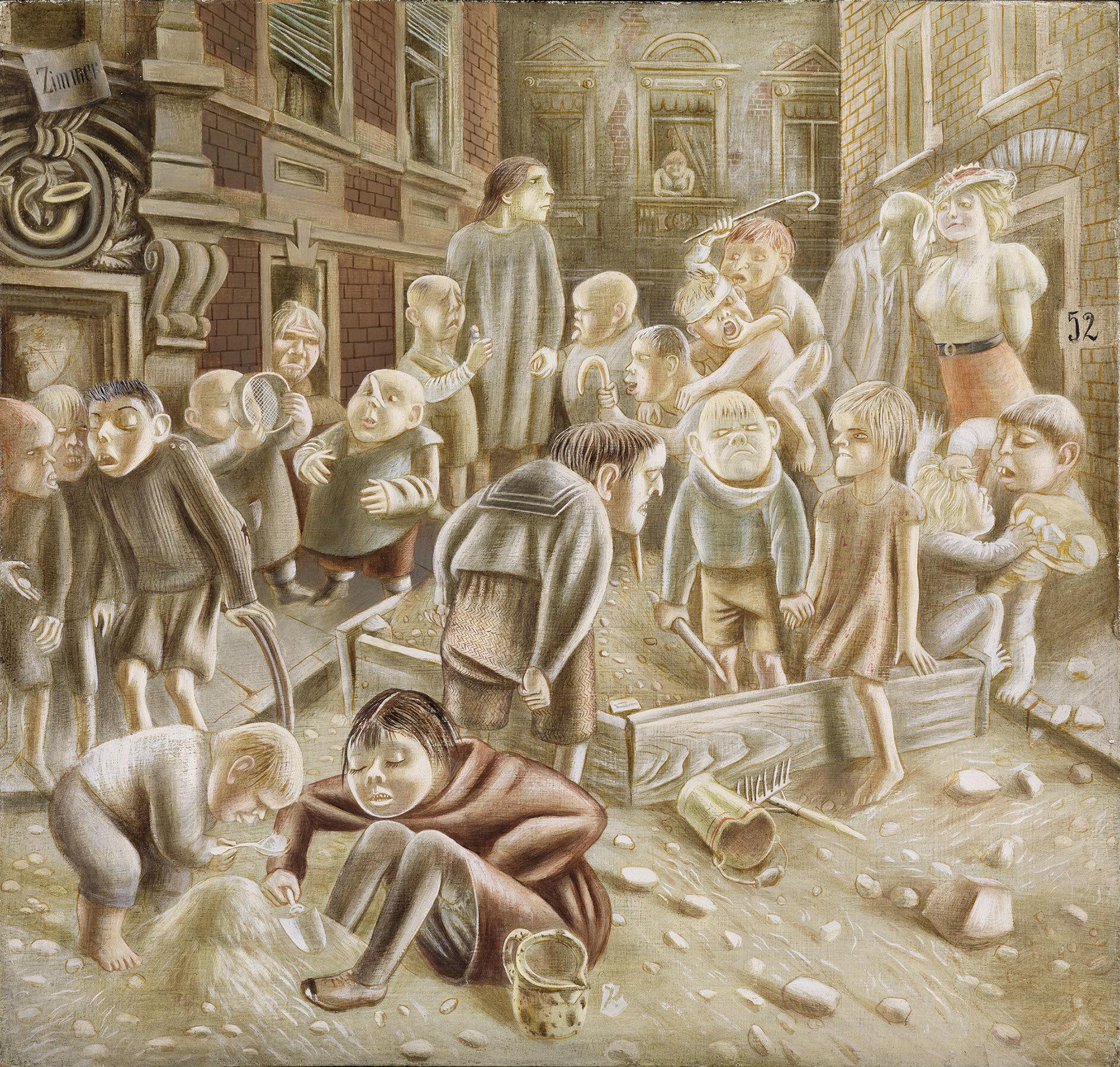 Karl Hubbuch (1891–1979): Kinder die unter Steinen aufwachsen, um 1933/35