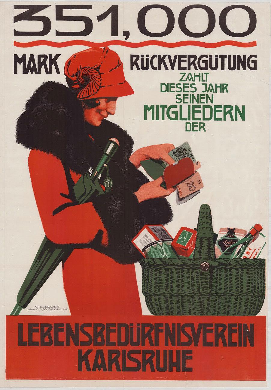 Plakat des Lebensbedürfnisvereins Karlsruhe, um 1925