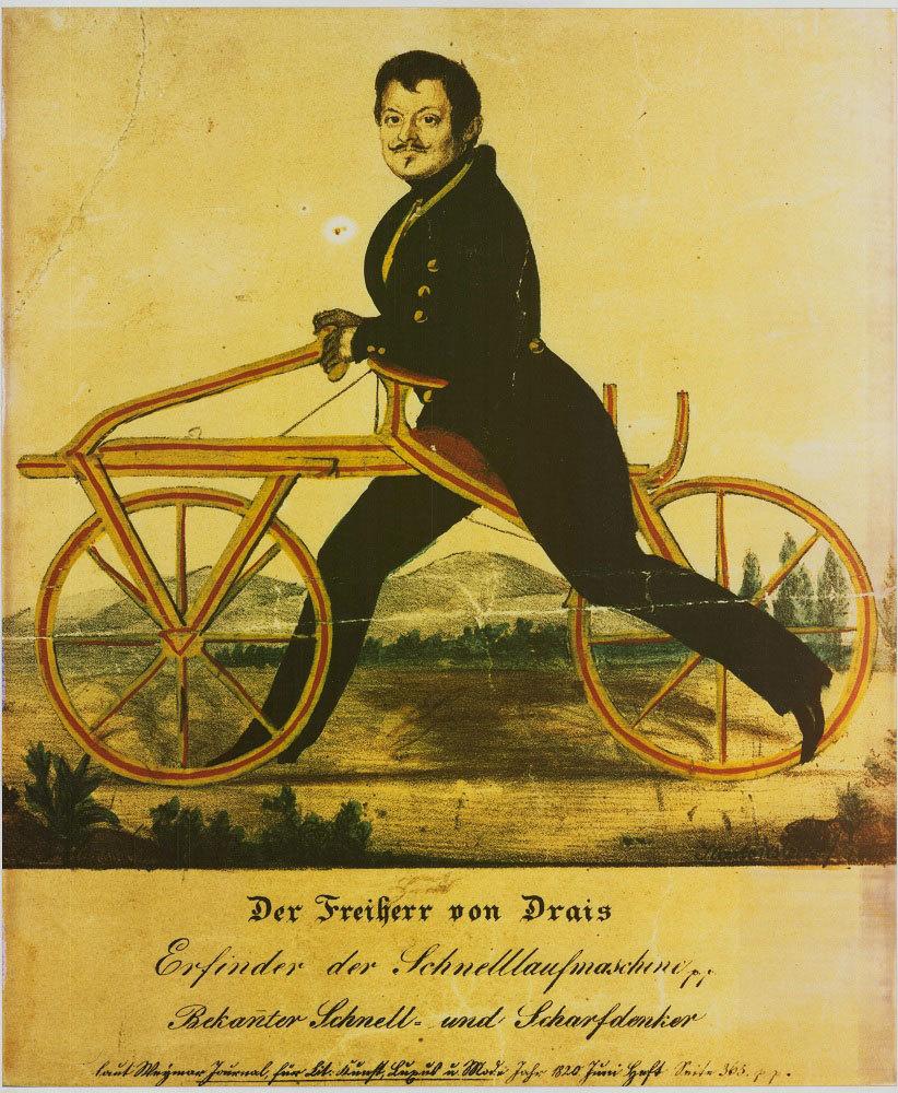 Karikatur über Karl (von) Drais (1785–1851)