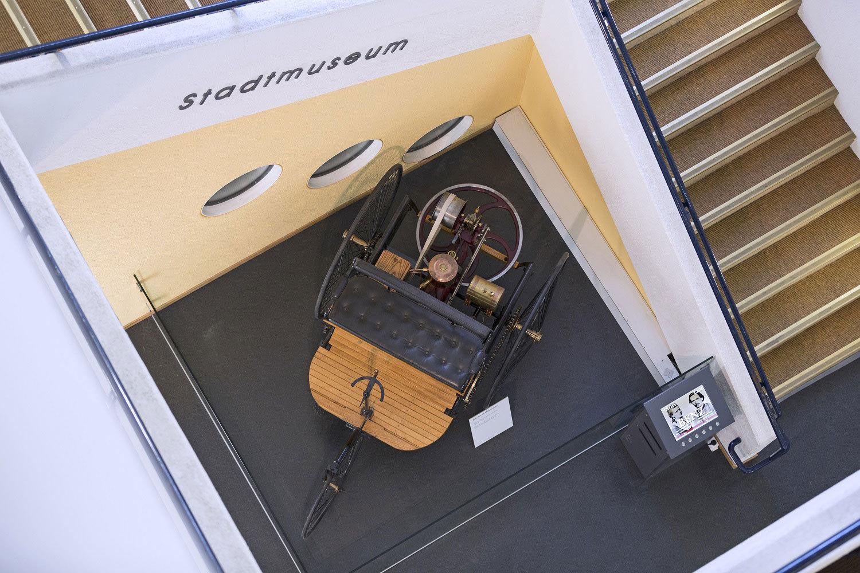 Nachbau des Benz Patent-Motorwagens im Stadtmuseum Karlsruhe