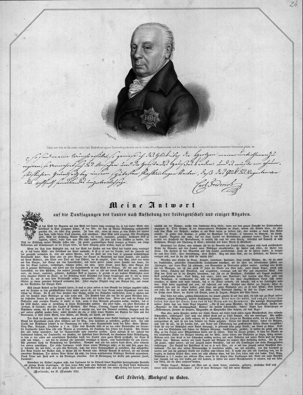 Dankschreiben von Karl Friedrich von Baden-Durlach (1728–1811), 1783