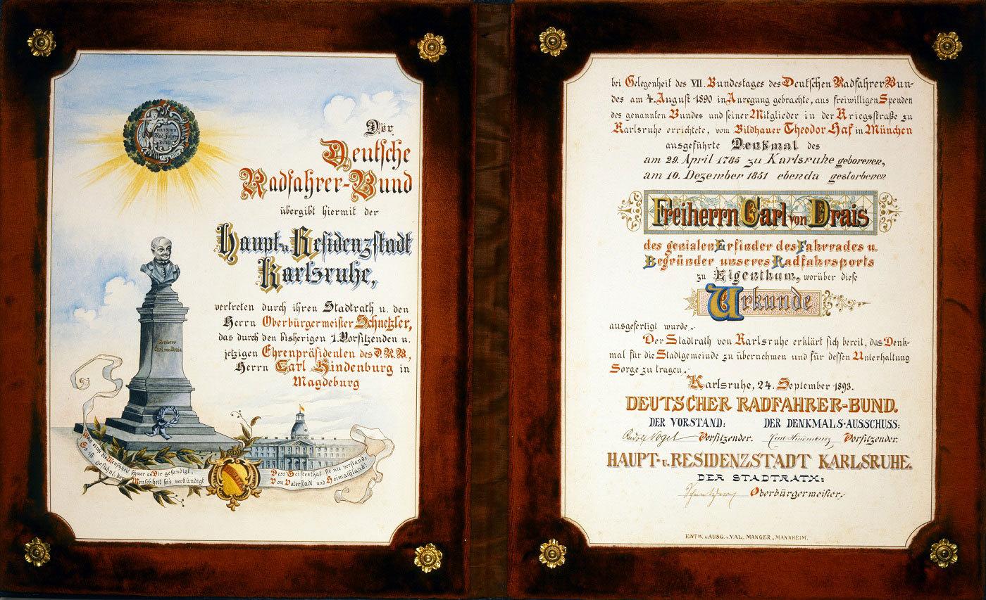 Urkunde zur Übergabe des Draisdenkmals an die Stadt Karlsruhe, 1893