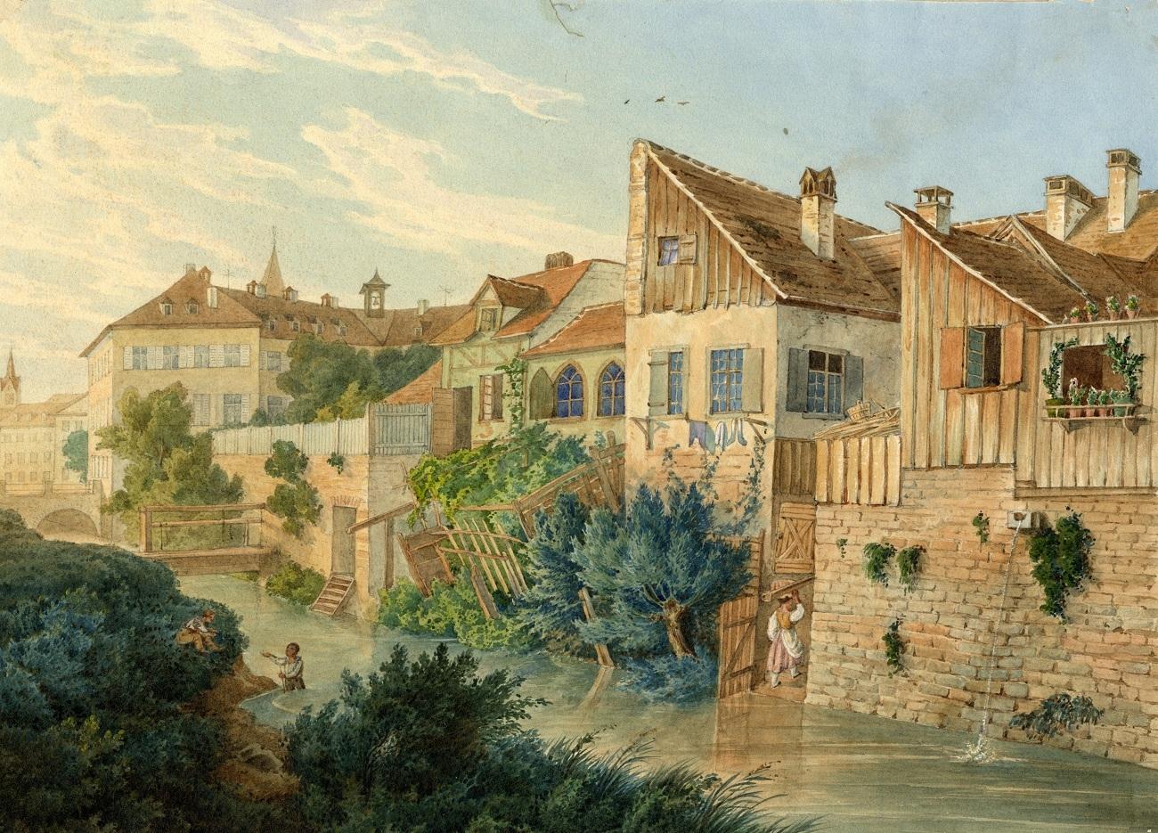 """Häuser des """"Dörfle"""" am Landgraben, um 1840"""