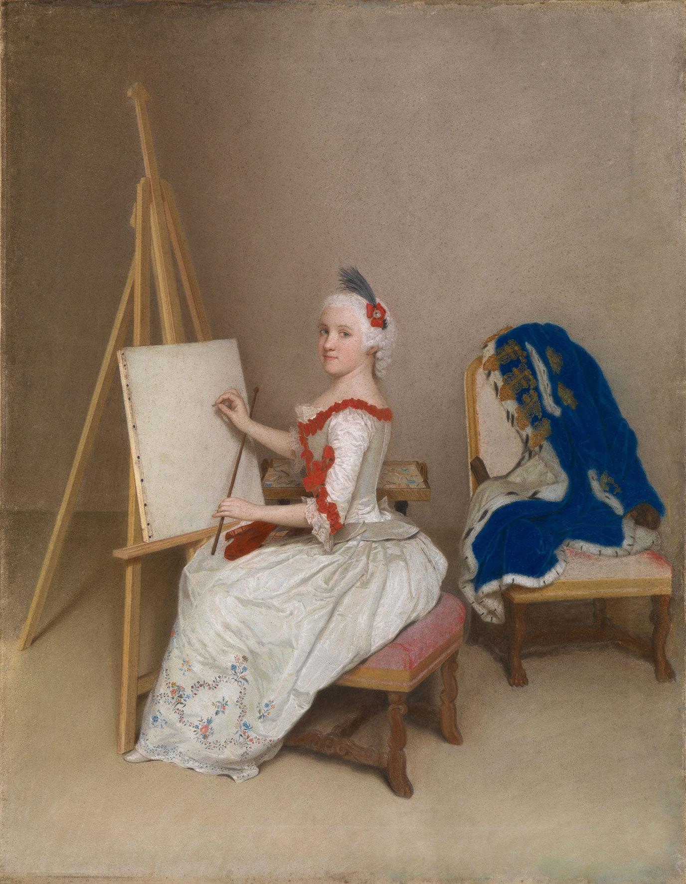 Karoline Luise von Hessen-Darmstadt (1723-1783) an der Staffelei, 1745