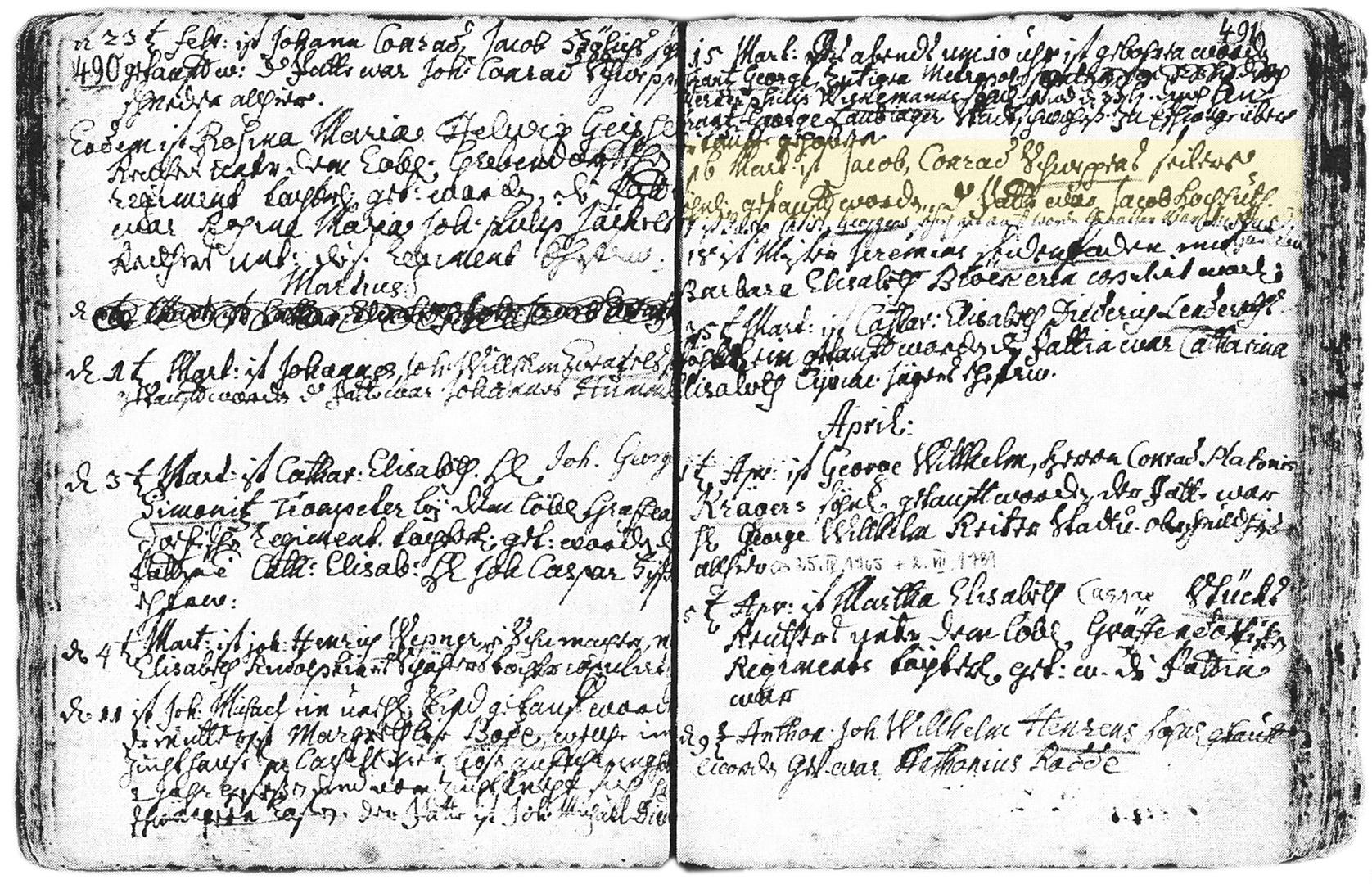 Jacob Schweppe Taufeintrag 1740 KB Witzenhausen markiert.jpg