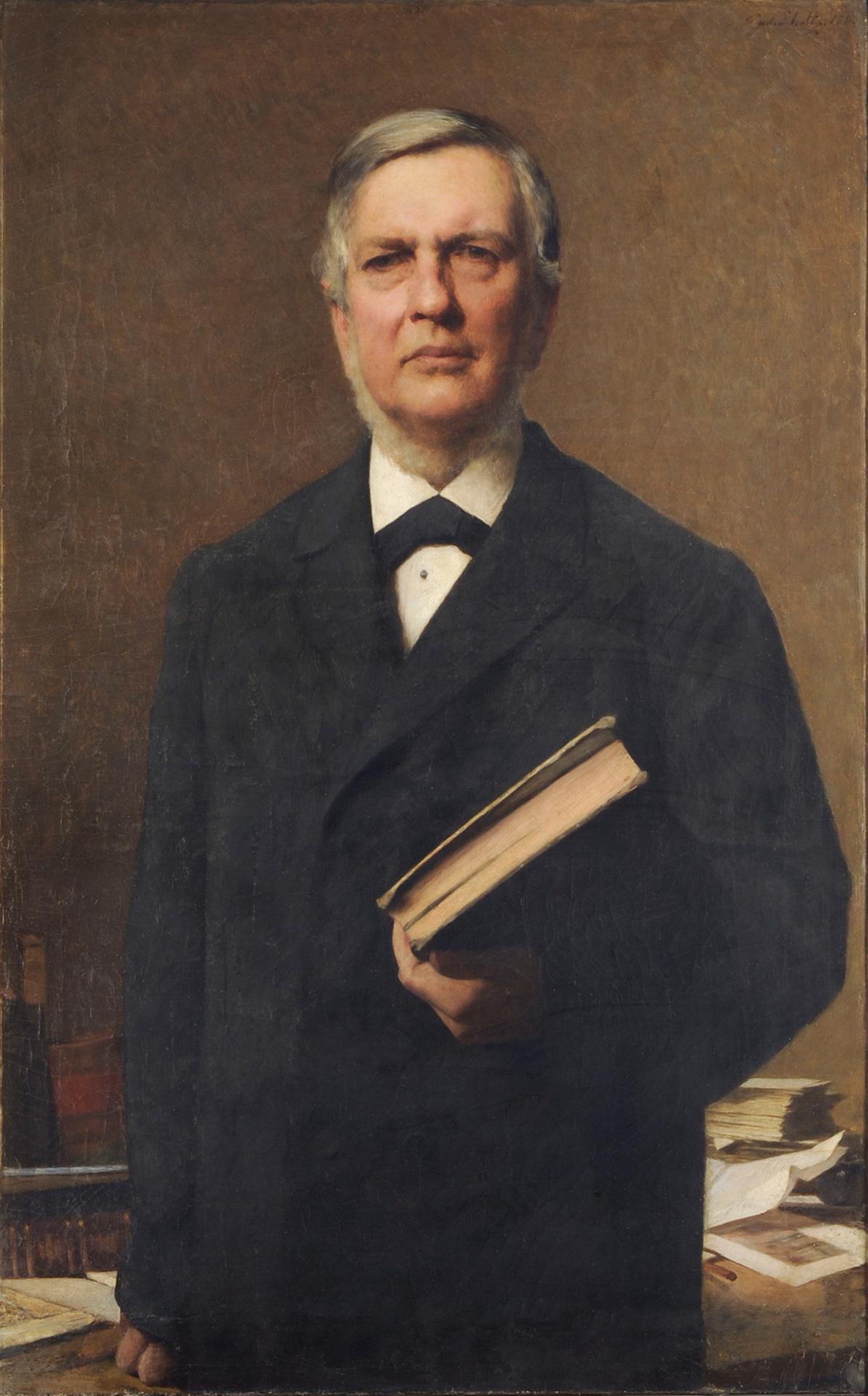 Bildnis des Oberbibliothekars in Dresden Ernst Wilhelm Förstemann (1822-1906). Ölgemälde von Julius Scholtz, Dresden 1882. Dresden: SLUB