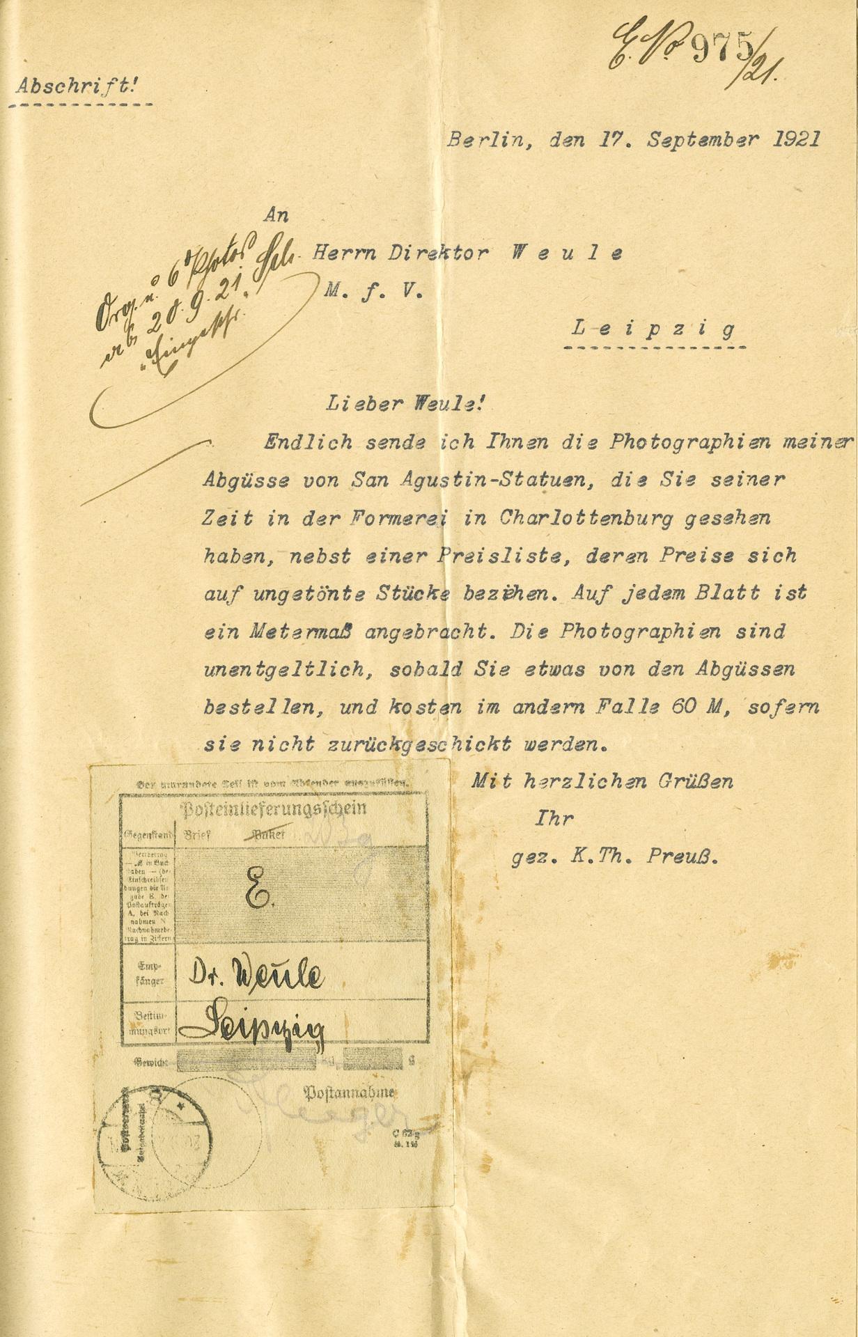 Korrespondenz Preuss an Karl Weule