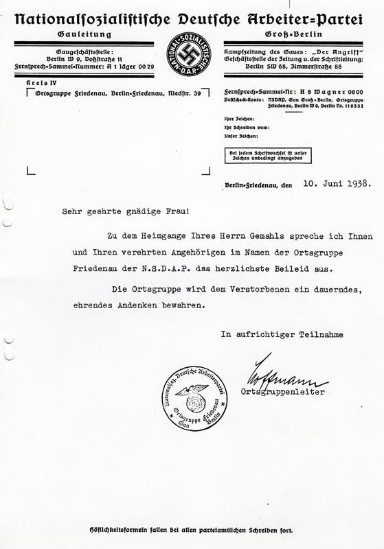 Beileidsschreiben des NSDAP-Ortsgruppenleiters Hoffmann