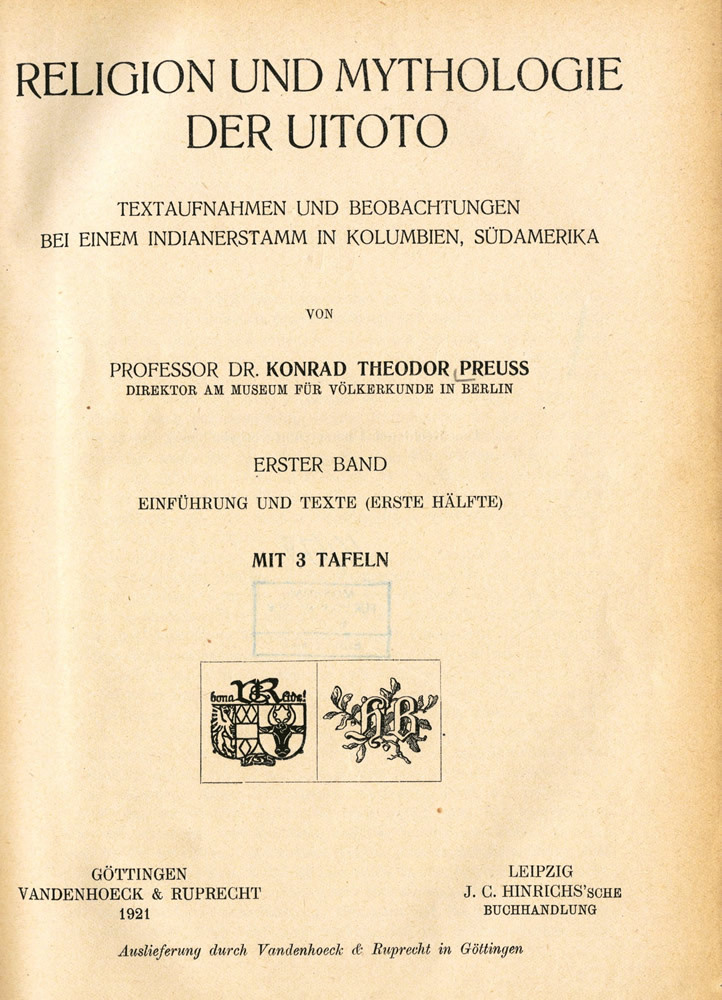 """Titelblatt """"Religion und Mythologie der Uitoto"""""""