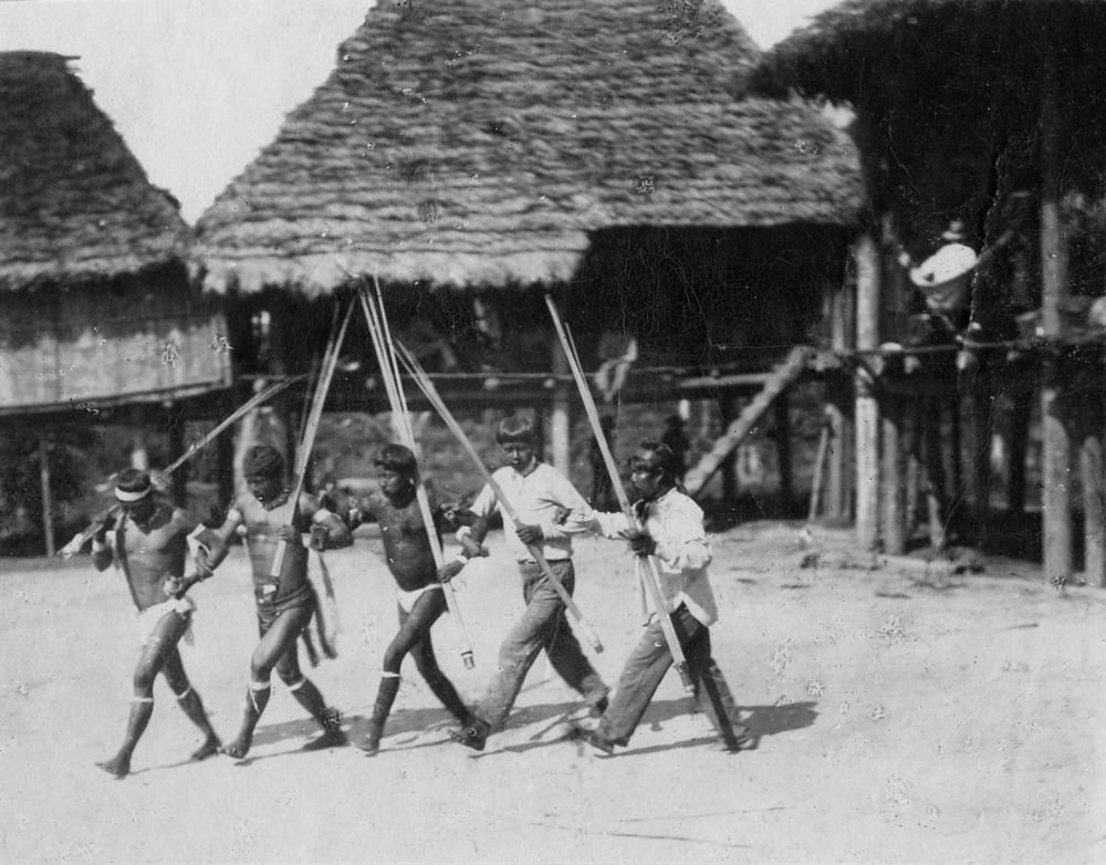 Aufnahme des Tanzes während des Okima-Festes in Niña Maria, Südost-Kolumbien