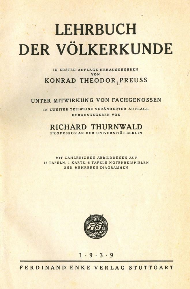"""Titelblatt """"Lehrbuch der Völkerkunde"""""""